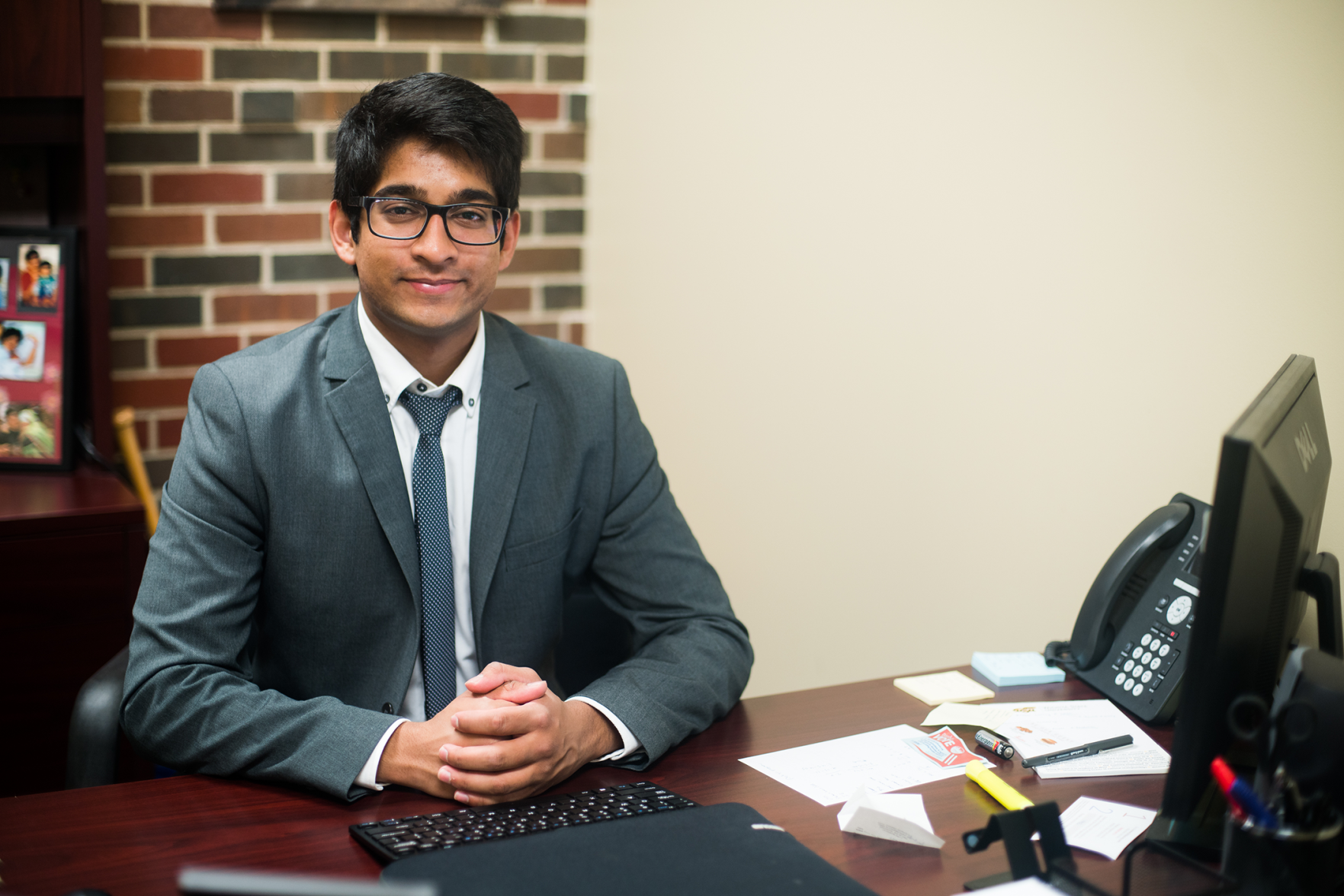SGA Vice-President Taben Azad sits in his office.