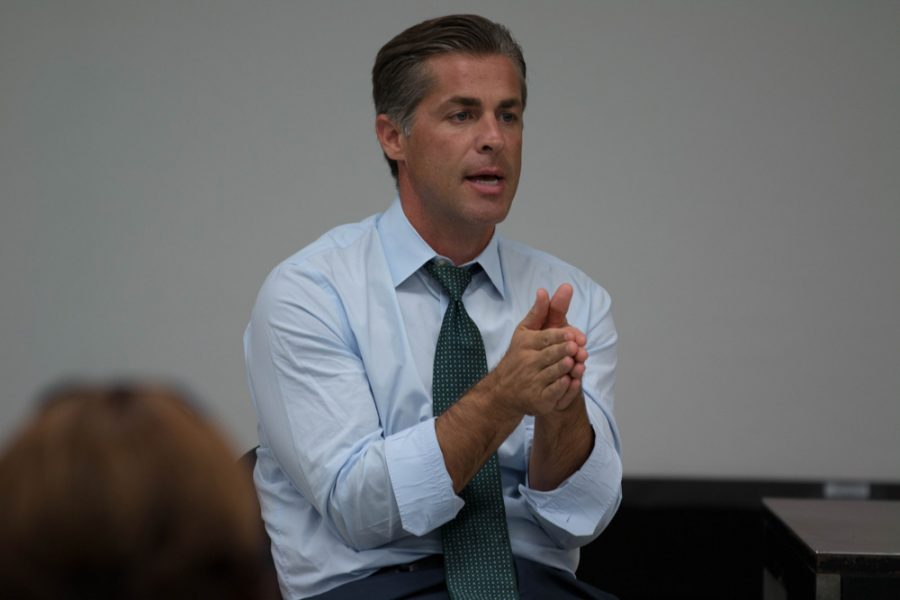 Dan+Giroux%2C+US+representative+candidate%2C+addresses+a+question+about+his+stance+on+college+dept.+Giroux+spoke+and+answered+questions+from+WSU+students+in+Hubbard+Hall%2C+on+Oct.+5.