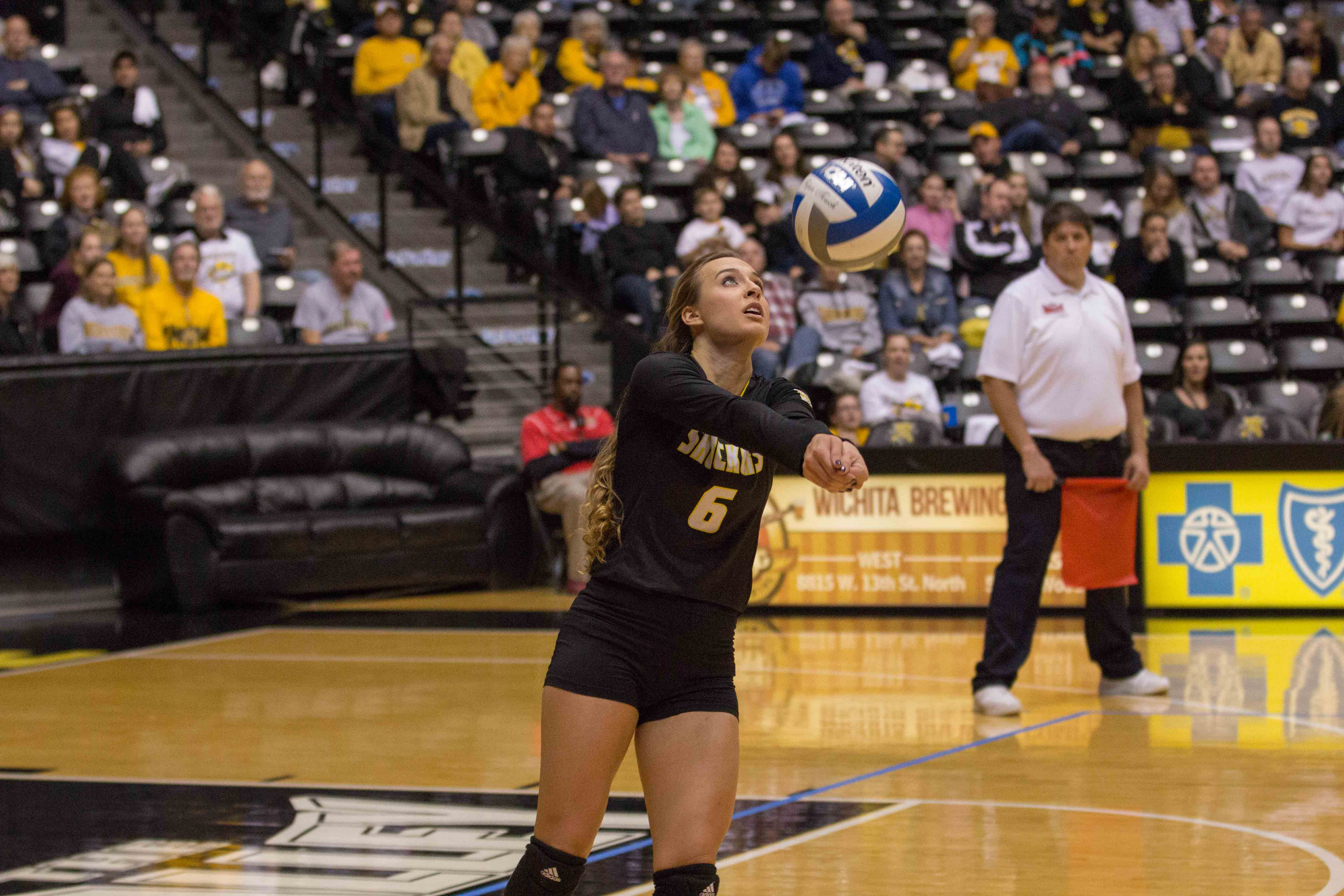 Wichita State senior Dani Mostrom (6) goes to return the ball to Indiana State. Mostrom had a career-high of 31 digs on Friday.