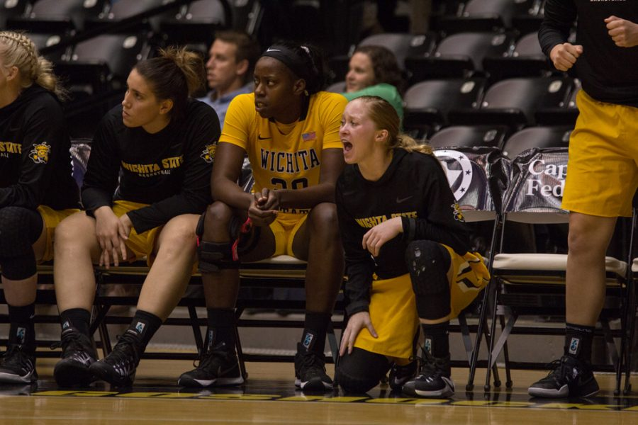 Wichita+State+guard+Hannah+Mortimer+%282%29+cheers+on+her+team+during+Wednesday+night%E2%80%99s+exhibition+against+Newman.