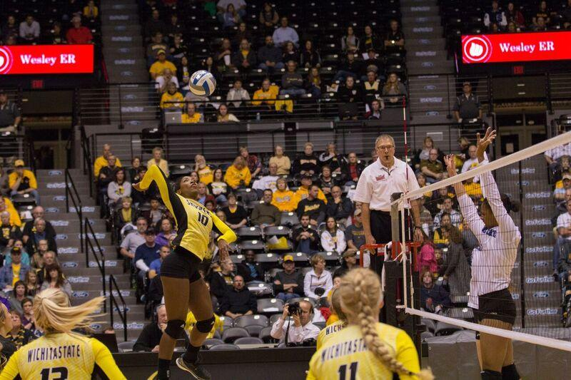 Tabitha Brown goes up for a kill against Indiana State. Brown had 17 kills in WSU's win. Photo by Matt Crow