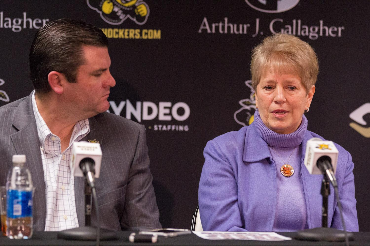 New Wichita State women's basketball coach, Linda Hargove, speaks at the press conference on Monday afternoon about accepting the position at WSU. Hargrove will finish the season as head coach.