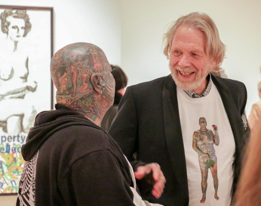 Professor+Larry+Schwarm+talks+to+his+subject+Larry+K.+during+opening+night+at+the+Ulrich+Museum+of+Art+on+Saturday.