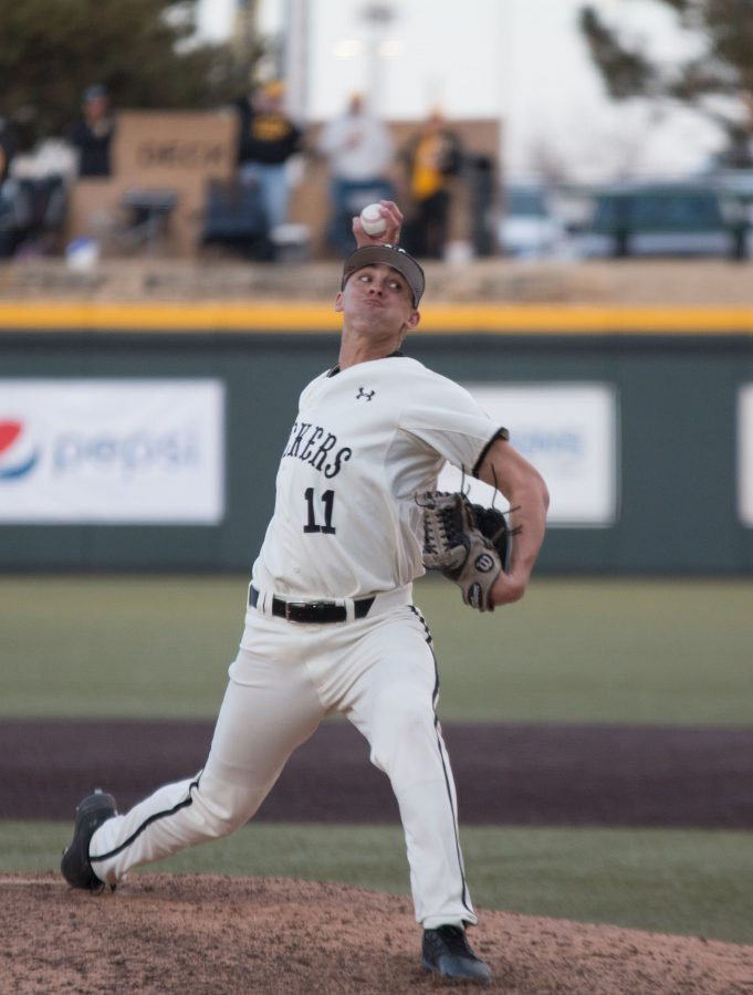 Wichita+State%27s+Ben+Hecht+winds+up+for+a+pitch+during+the+game+against+Utah+Valley.+Hecht+pitched+during+one+inning+of+the+game.+%28Feb.+17%2C+2017%29