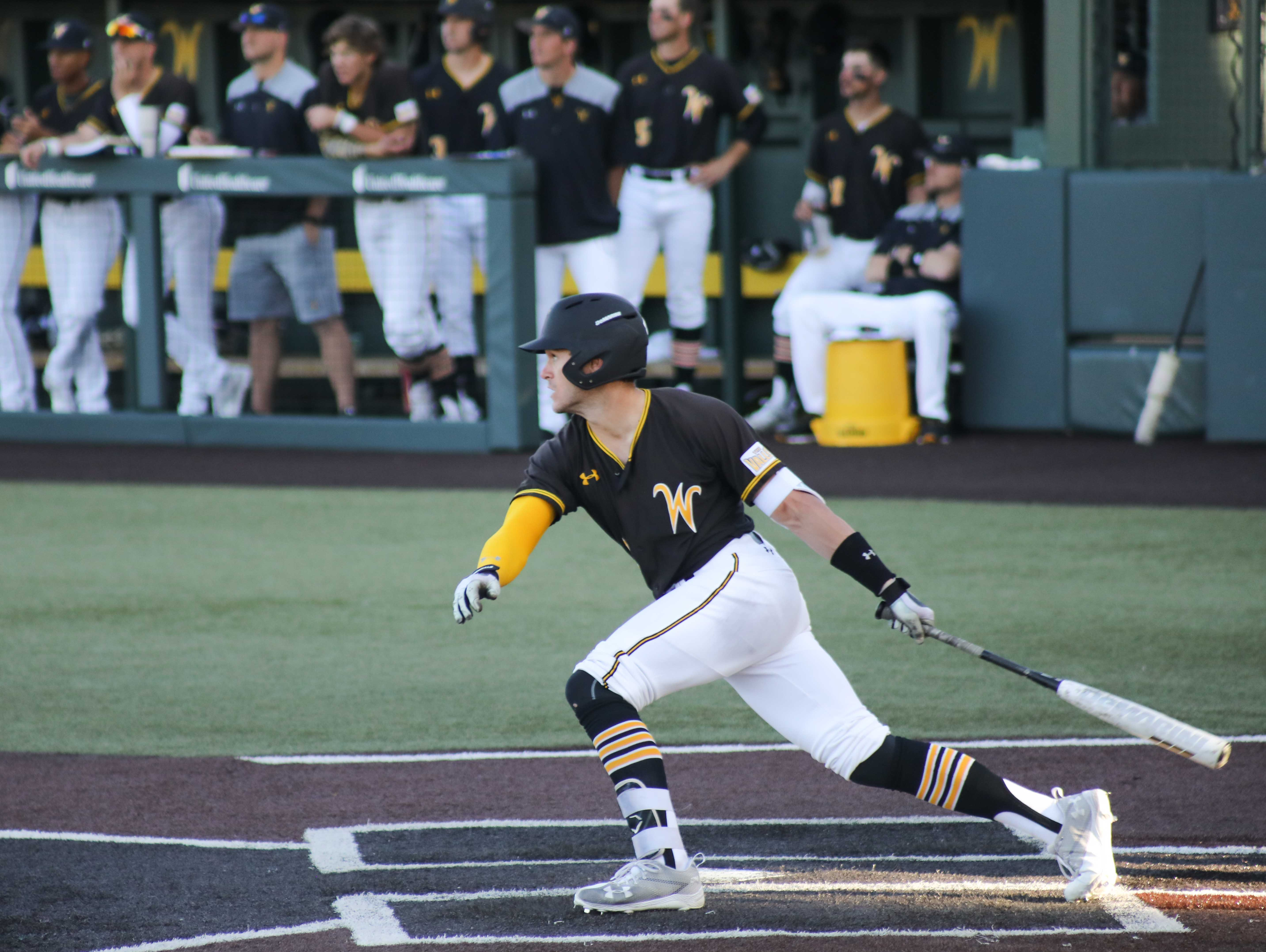 Wichita State Sophomore Travis Young (1) looks on after a hit against Utah Valley. (Feb. 18, 2017)