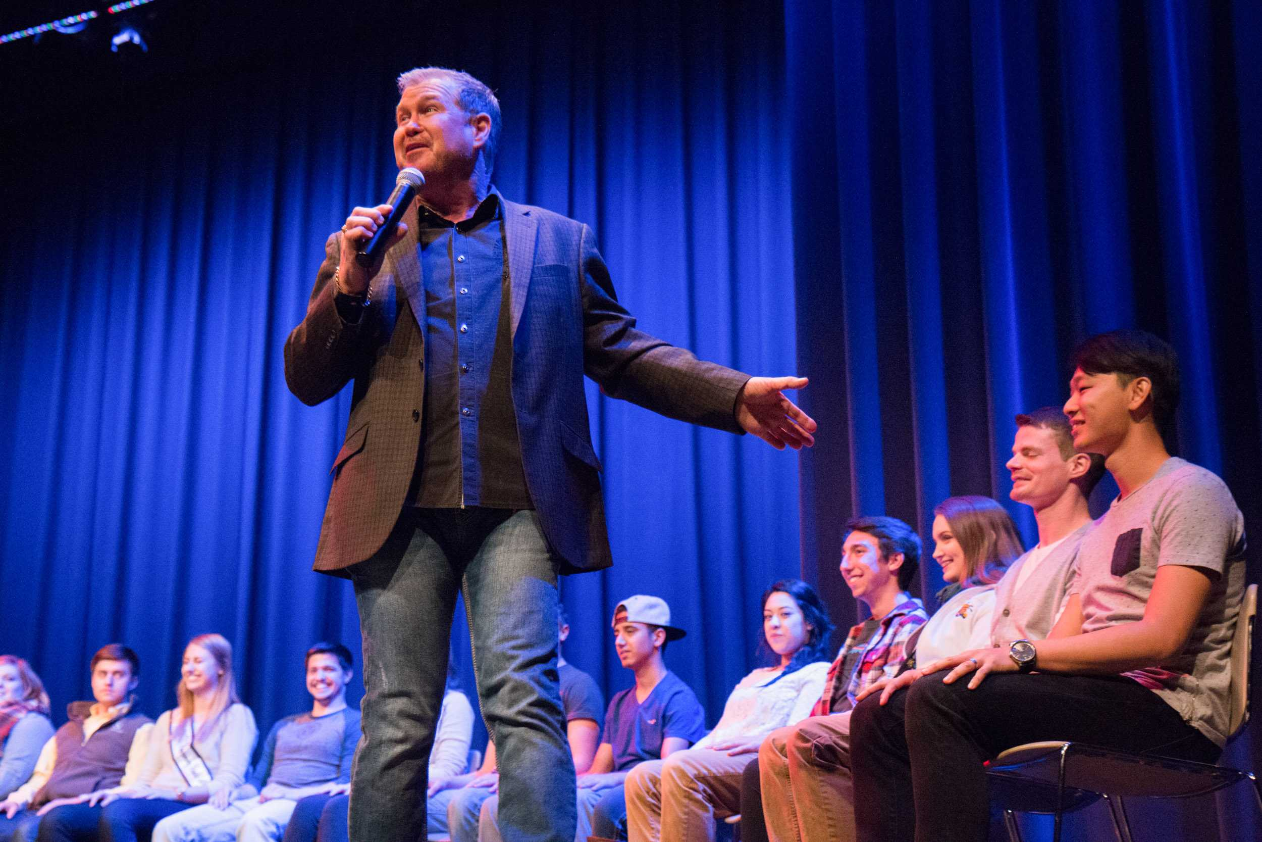 Daniel James, a hypnotist, preparing to hypnotize a group of volunteers Thursday night at the CAC Theater.