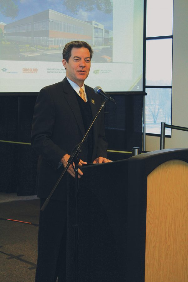 Gov.+Sam+Brownback+speaks+at+Wichita+State+in+2015.
