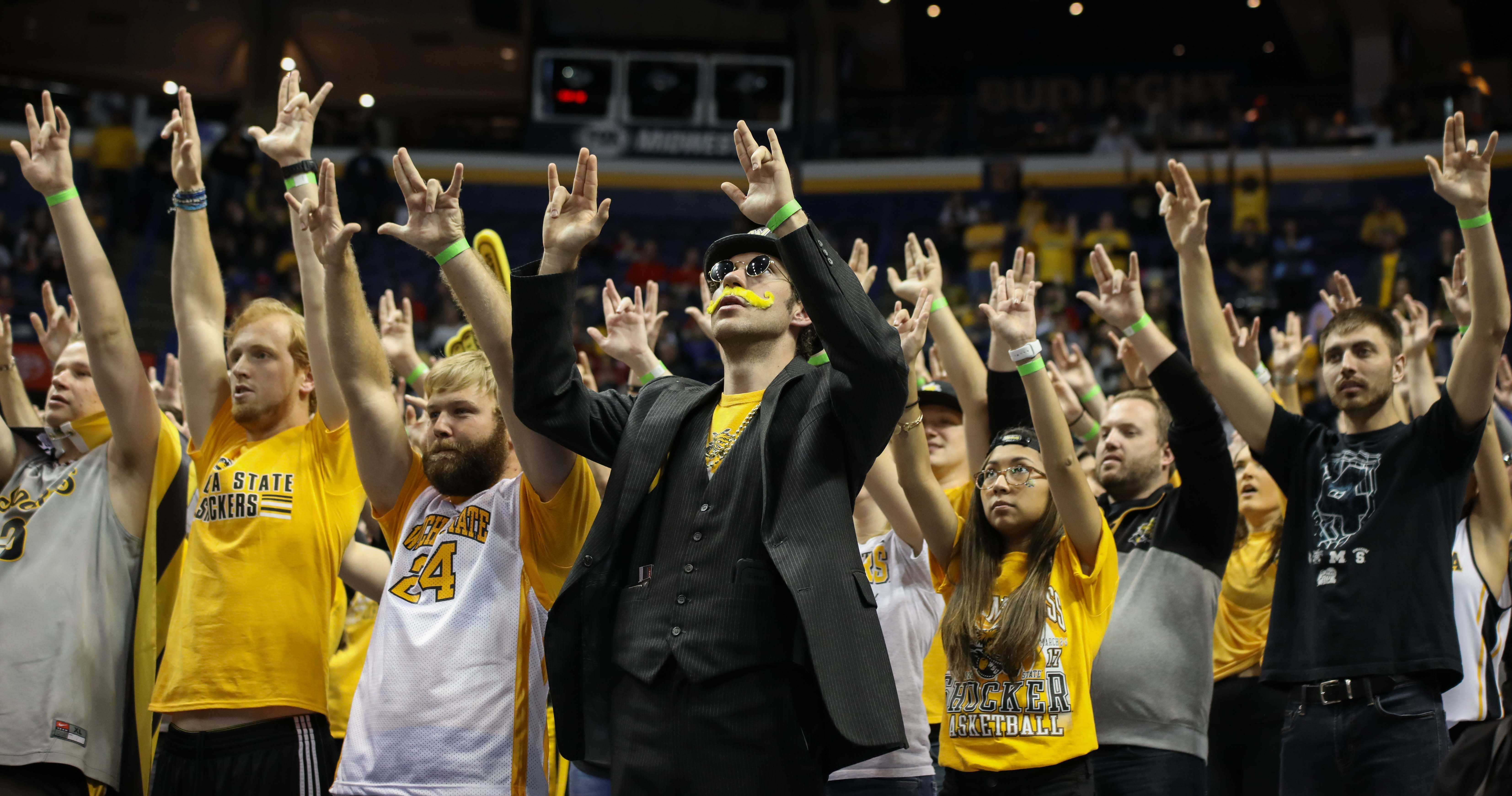 Shockers fans wait for a made free throw.