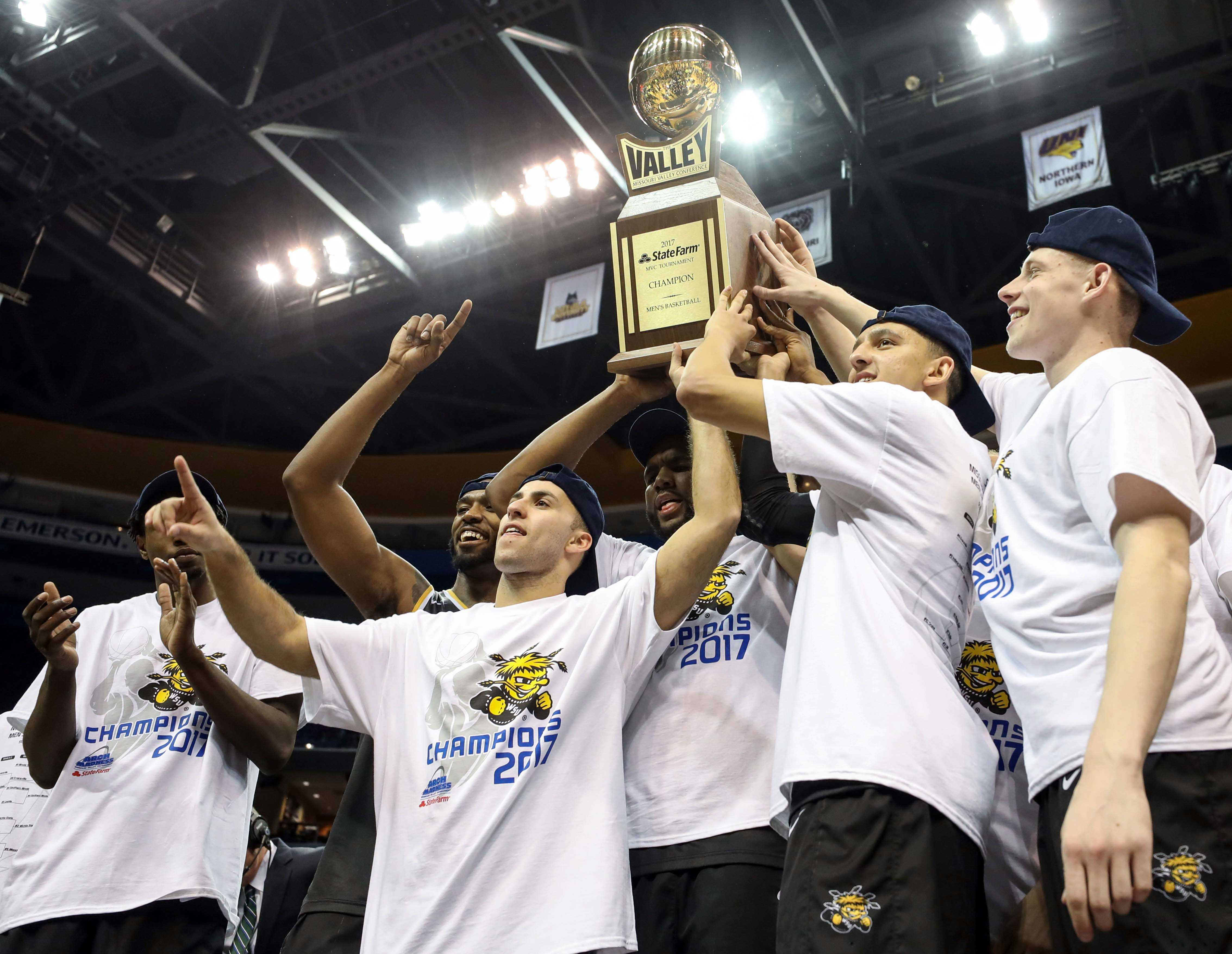Wichita State secures an at-large bid to the NCAA Tournament winning the Missouri Valley Conference Tournament for the second time in Gregg Marshall's ten seasons at Wichita State.