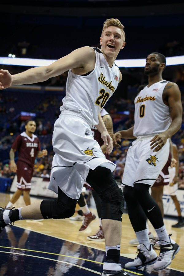 Wichita+State+center+Rauno+Nurger+%2820%29+grins+after+driving+to+the+basket.