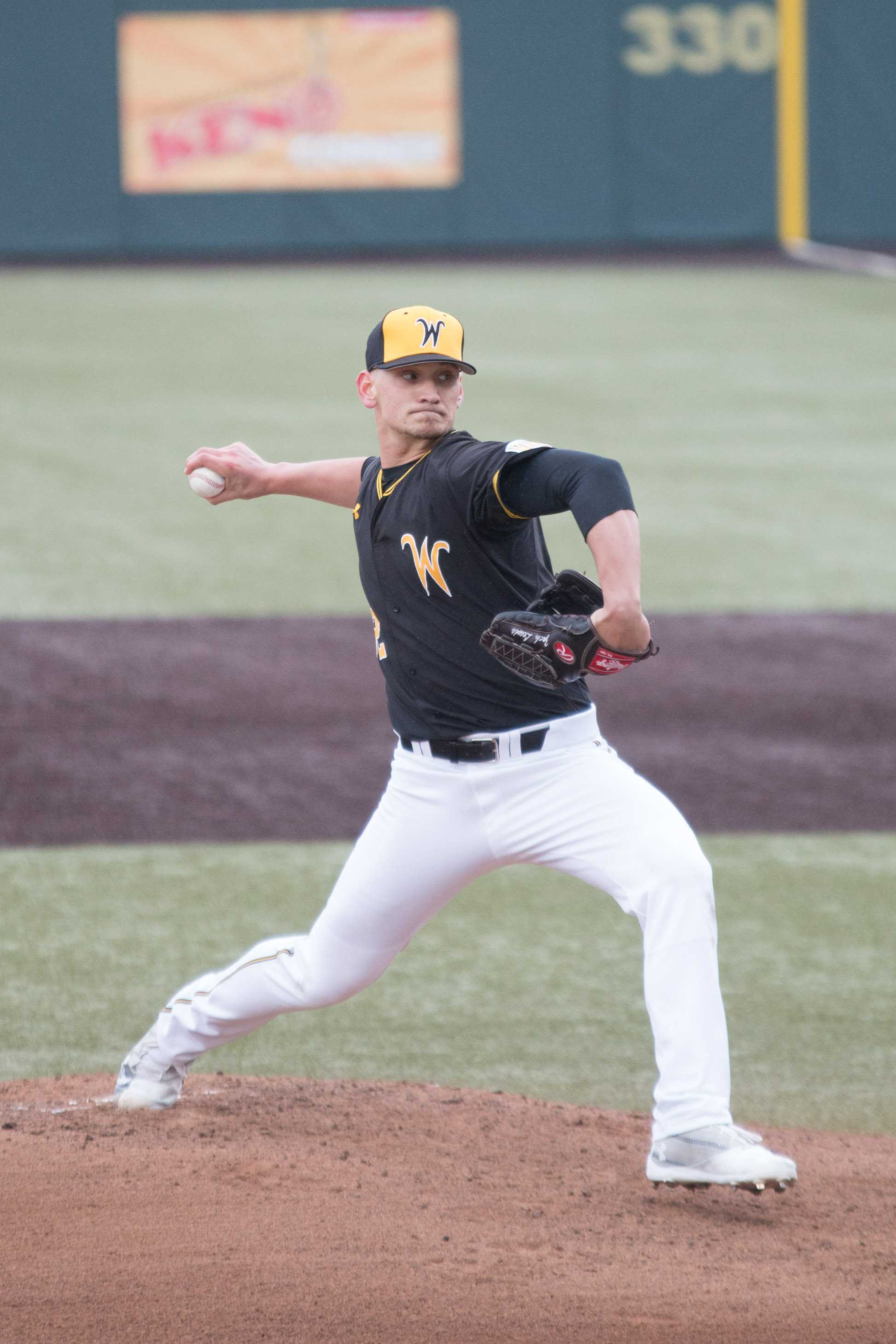 Senior Zach Lewis winds up a pitch against Texas Tech. Lewis pitched seven innings and a career high of 10 strikeouts Saturday afternoon.