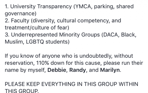 SGA vice president shown as administrator on protestors' Facebook group