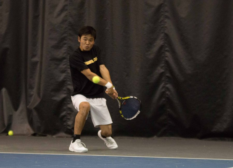 Sophomore+Haru+Inoue+volleys+the+ball+back+to+a+Cornell+player+on+March+11.+Wichita+State+lost+their+match+against+MVC-foe+Drake+on+Saturday+afternoon.