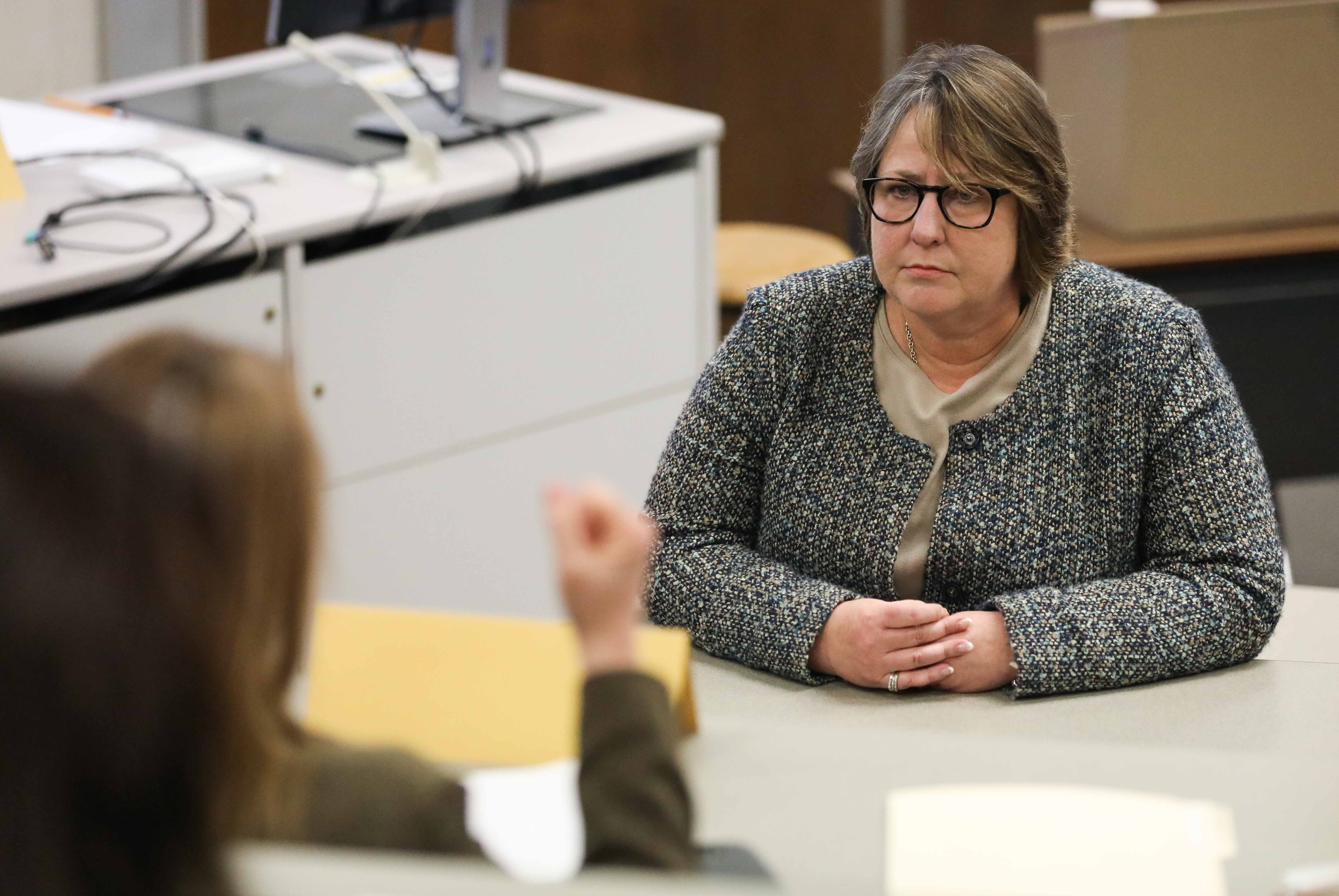 Teri Hall, Vice President of student affairs addresses the Wichita State faculty senate on March 27th.