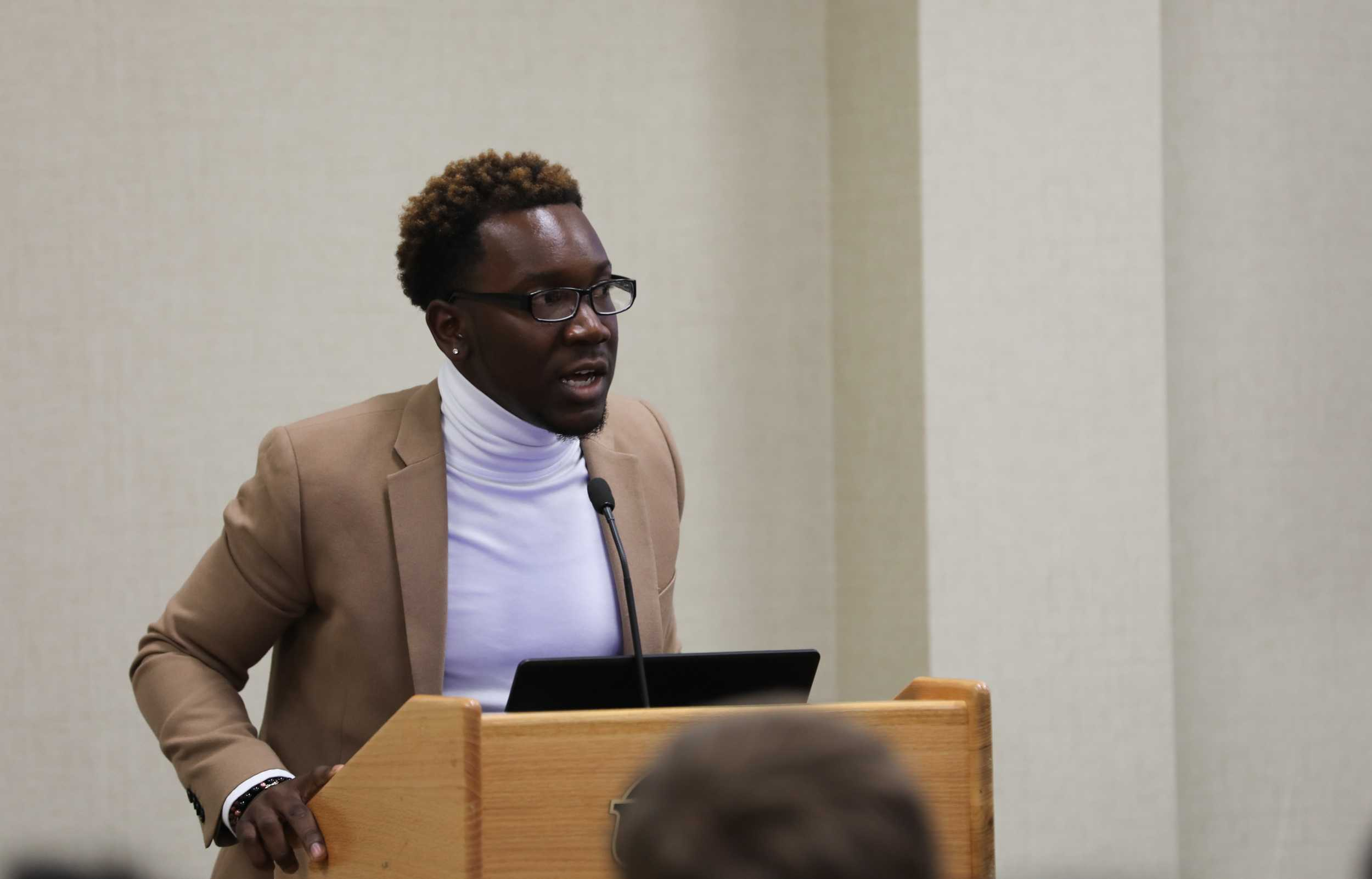 Student body president Joseph Shepard addresses the crowd during the open forum portion of the student fees hearing. (Mar. 1, 2017)