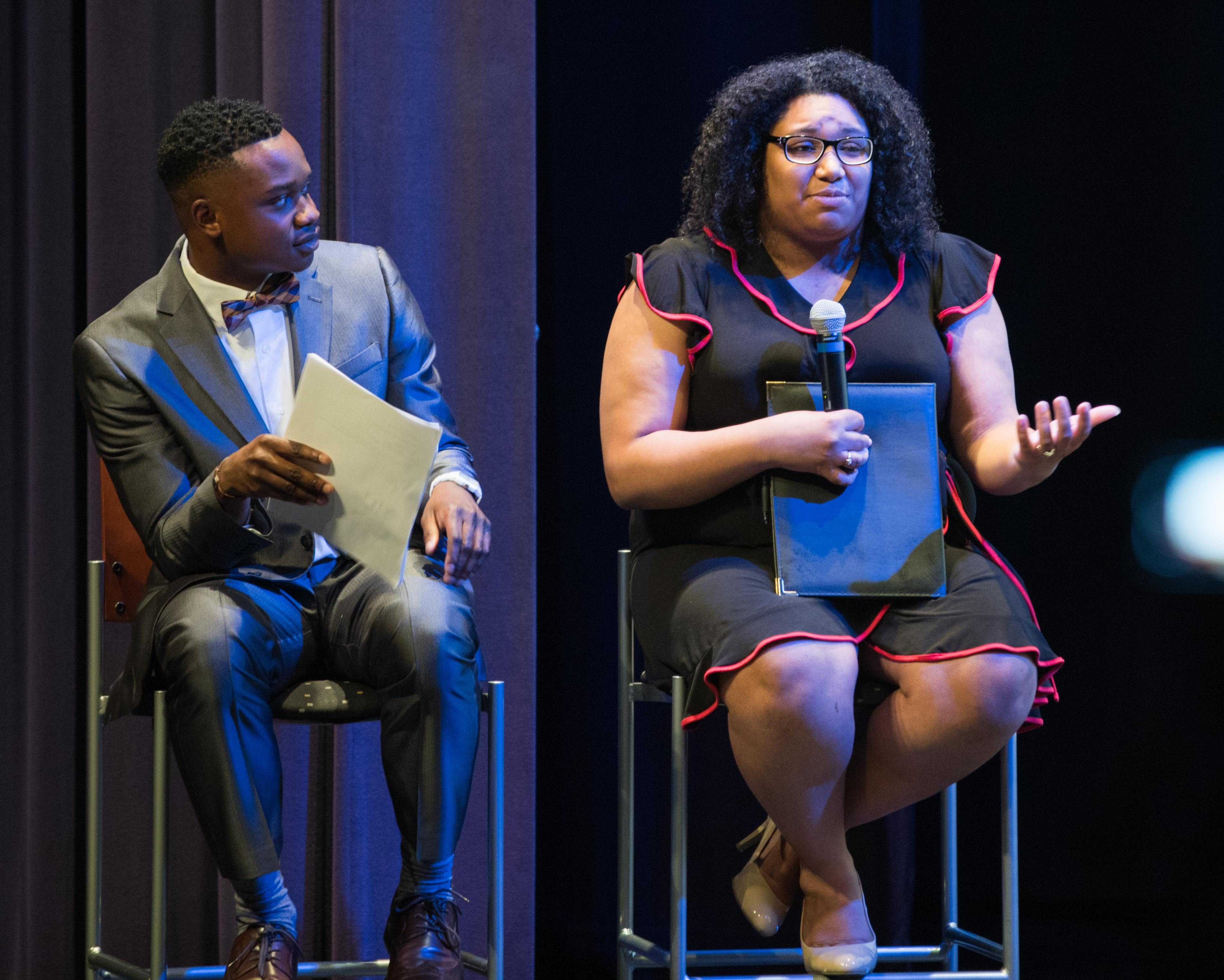 SGA presidential candidate Tracia Banuelos and her running mate Ricky Oshakuade answers questions during the SGA presidential debate held in CAC theater.