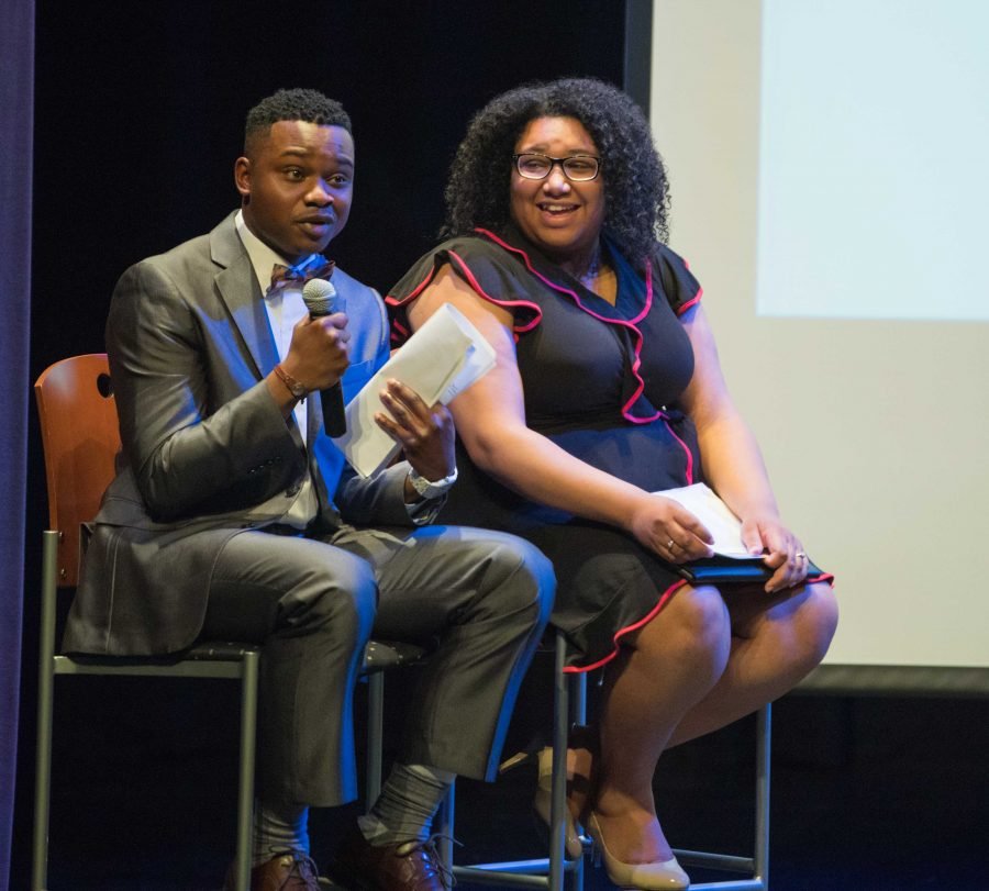 Ricky+Oshakuade%2C+vice+presidential+candidate+and+presidential+candidate+Tracia+Banuelos+answers+questions+from+the+audience+at+the+SGA+presidential+debate+in+the+CAC+theater.