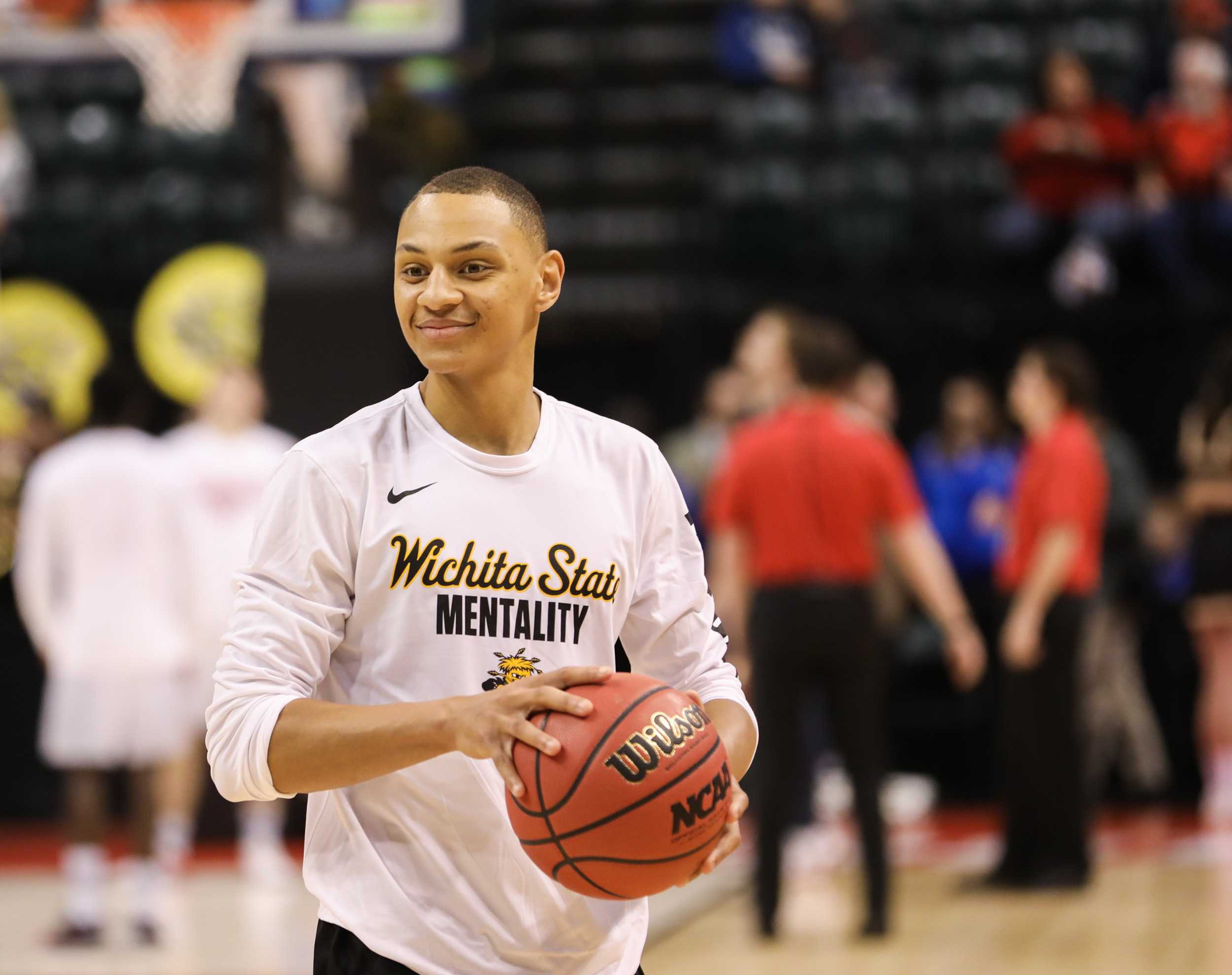Wichita State's C.J. Keyser smiles while warming up before the NCAA Tournament first round game against Dayton in Banker Life Fieldhouse in Indianapolis. (Mar. 17, 2017)
