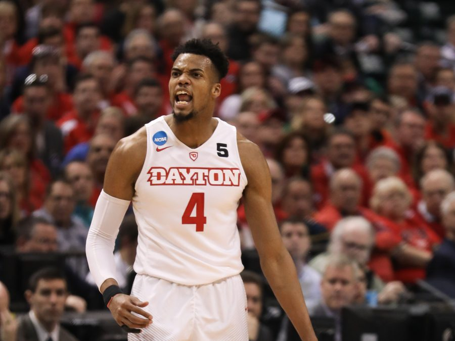 Dayton%E2%80%99s+Charles+Cooke+shouts+getting+a+foul+in+the+first+half+against+at+Bankers+Life+Fieldhouse+in+Indianapolis.+%28Mar.+17%2C+17%2C+2017%29