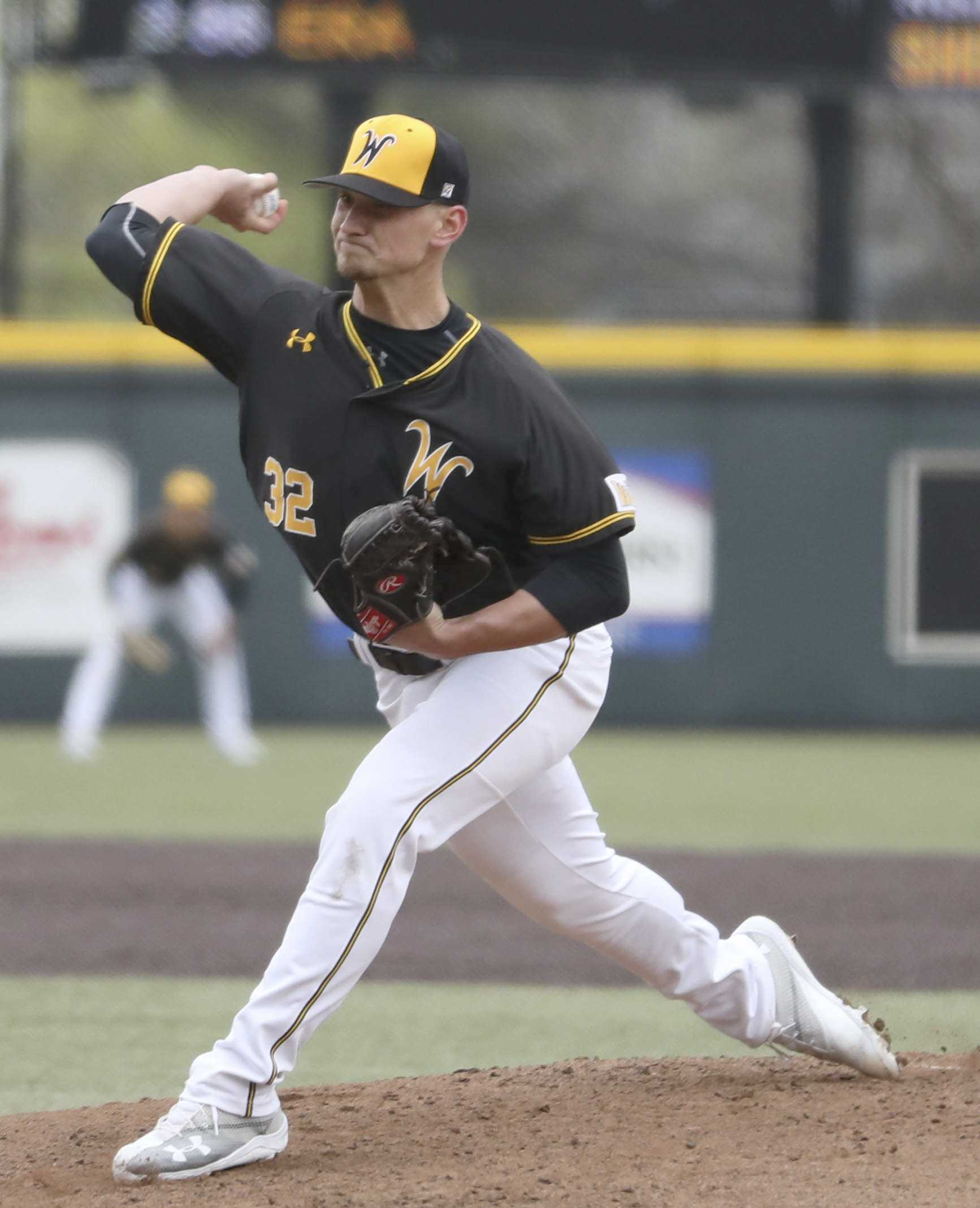 Wichita State pitcher Zach Lewis pitches to Texas Tech batter in the second game of the three game home series in Eck Stadium. (Mar. 26, 2017)