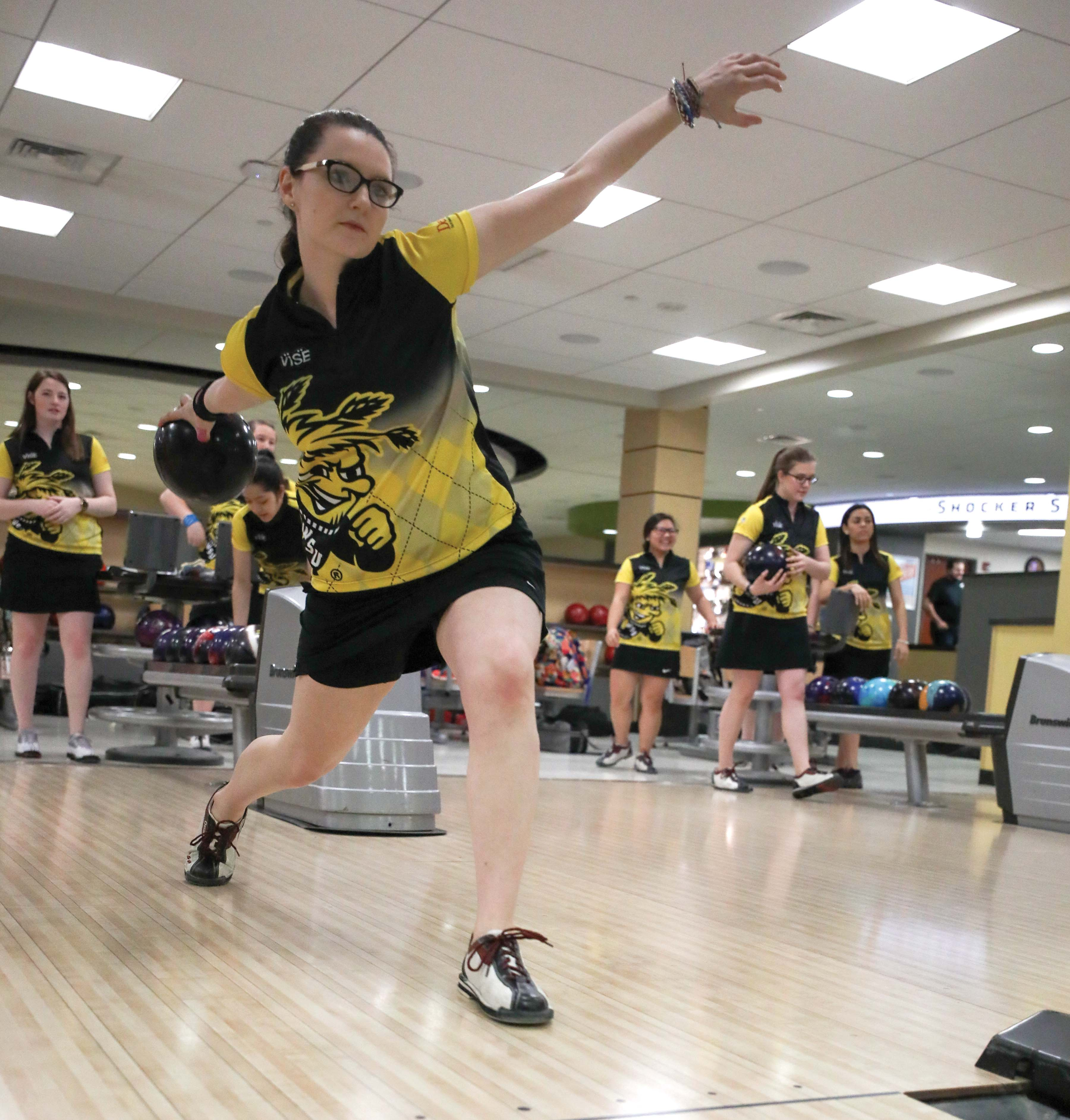 Wichita State junior Sydney Brummett bowls in the RSC during the media day prior to the Intercollegiate Bowling Championship. Brummett won the women's intercollegiate singles championship on Saturday.