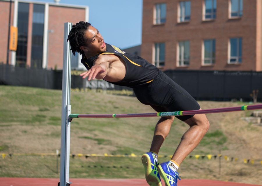 Kaden+Griffin+high+jumps+Tuesday+in+Cessna+Stadium+during+the+K.T.+Woodman+Multi-Events.+Griffin+won+the+Decathlon+with+a+personal+best+of+6%2C816.+%28April+11%2C+2017%29
