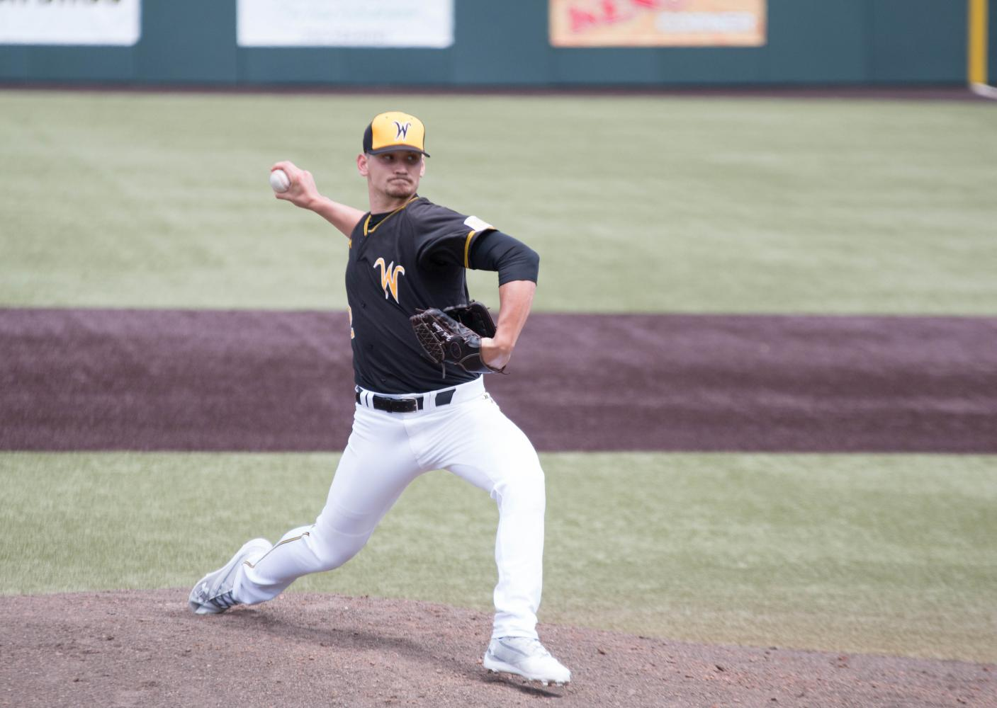 Wichita State pitcher Zach Lewis pitches during the first game against Illinois State at Eck Stadium (April 28, 2017)