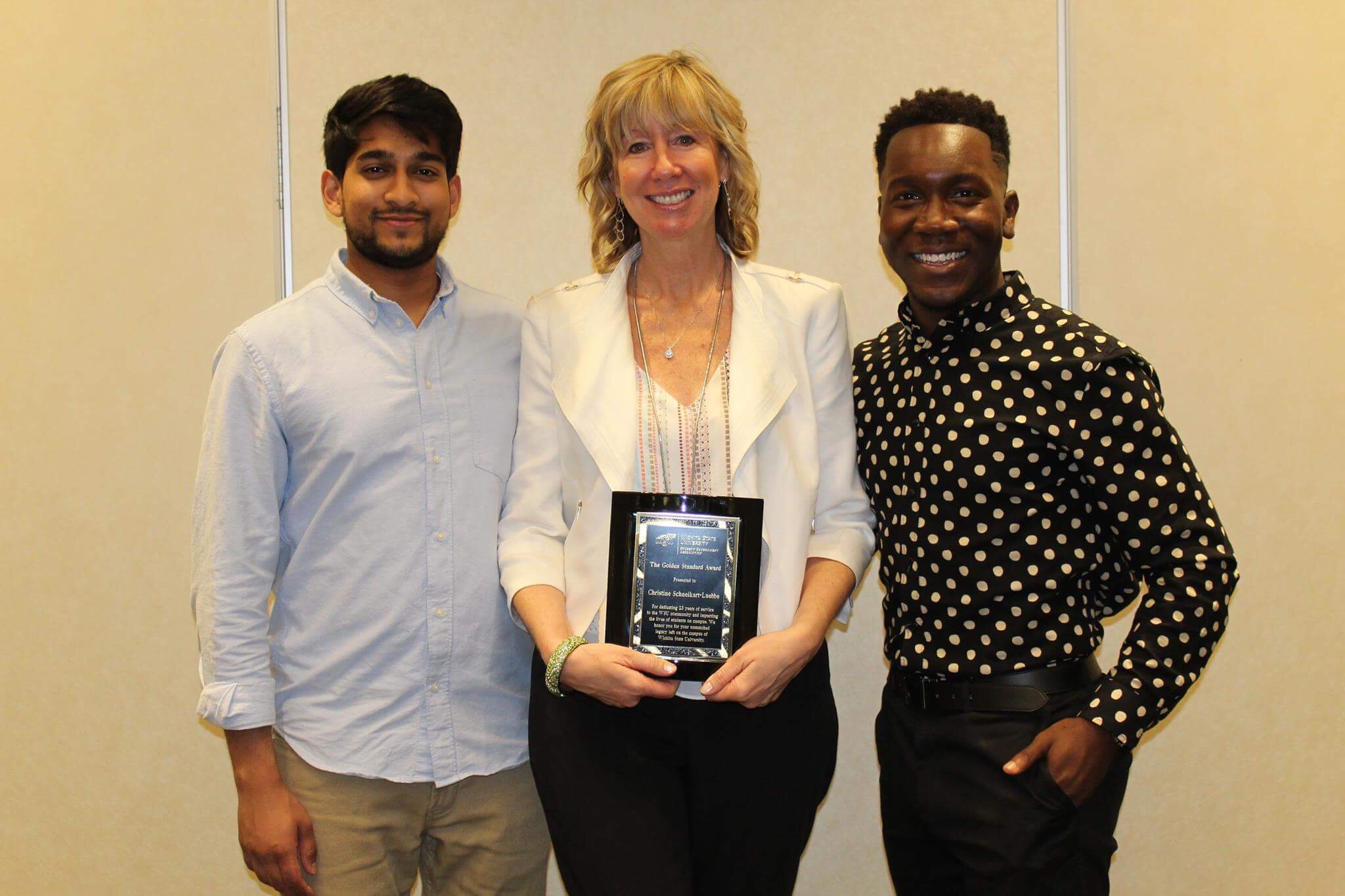 From left to right: Former Student Body Vice President Taben Azad, former Associate Vice President of Student Affairs and Dean of Students Christine Schneikart-Luebbe and former Student Body President Joseph Shepard