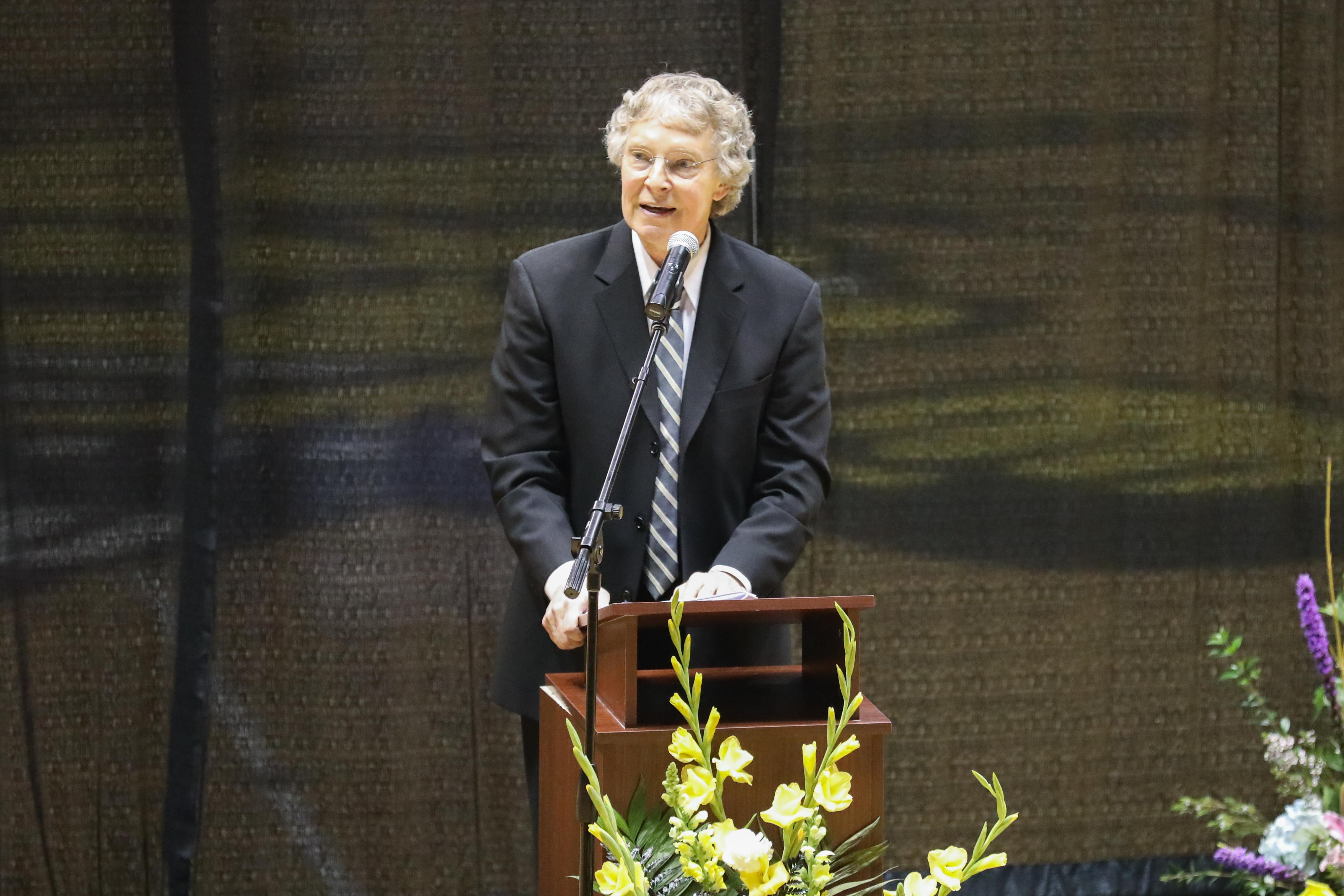 Wichita State broadcaster Dave Dahl eulogizes the late Linwood Sexton at a memorial service Saturday in Charles Koch Arena. (Apr. 8, 2017)