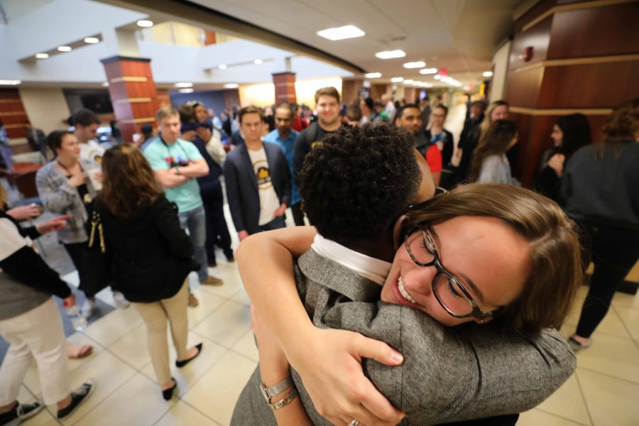 SGA+President+Joseph+Shepard+and+President-elect+Paige+Hungate+hug+after+the+announcement+of+her+SGA+election+victory+in+the+RSC.