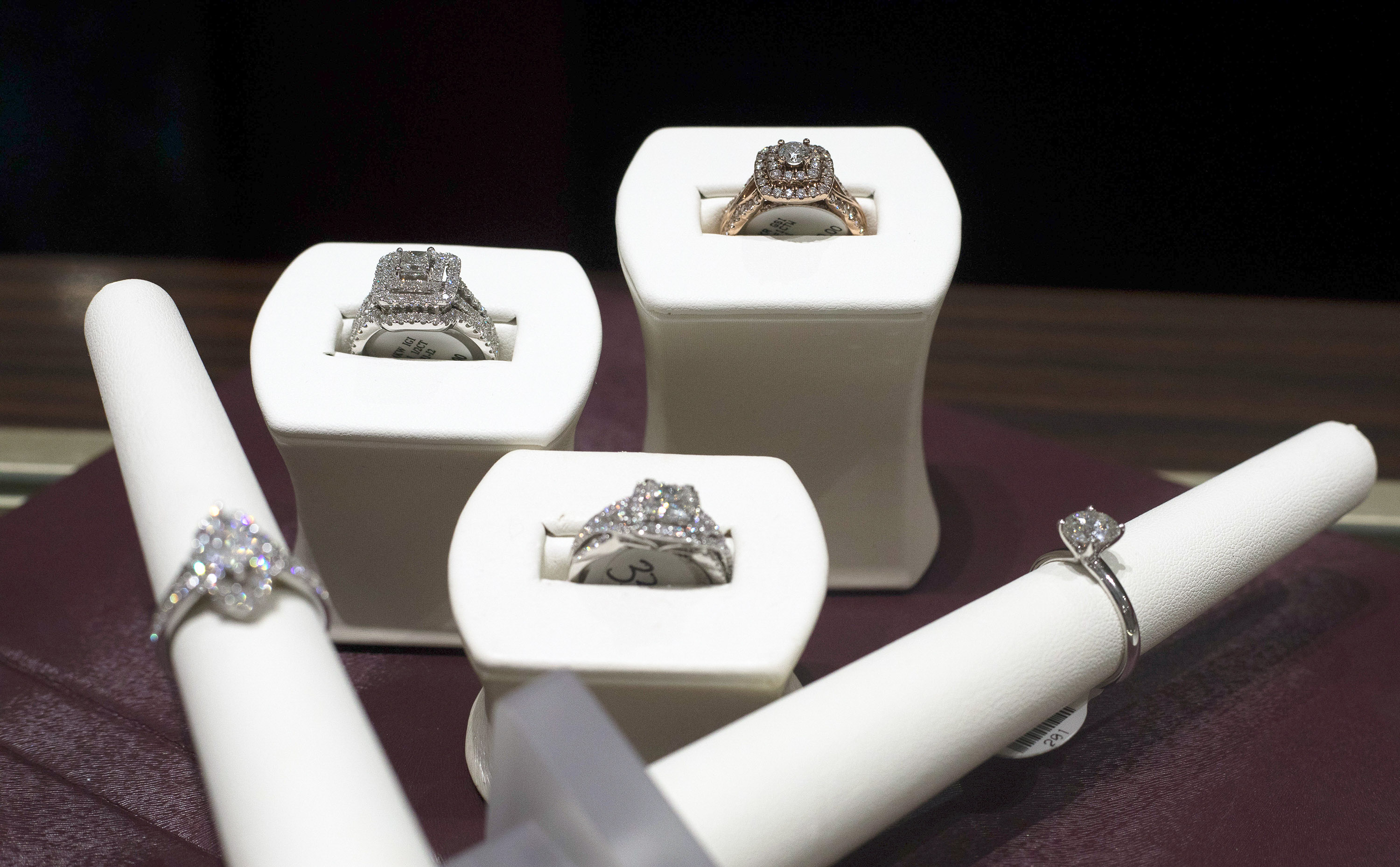 A variety of rings ranging from $3,599 to $19,999 at Helzberg Diamonds in Town East.
