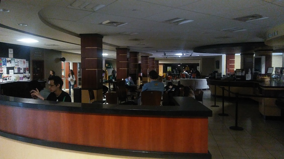 Power is out in the Rhatigan Student Center, pictured here, and other buildings on campus.