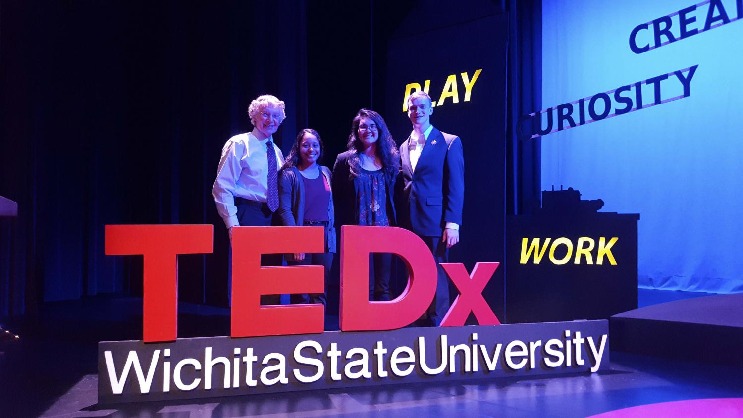 TEDx speakers (from left to right) Dave Dahl, Aja Molinar and Christine Fuston and emcee Sam Belsan. Dahl, Molinar and Fuston presented in the second block of TEDxWichitaStateUniversity on Thursday.