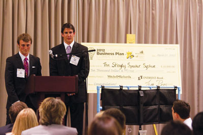 Zack Steffen and Aaron Young are the winners of the 2012 Business Plan Competition for their idea on Stingray Speaker System.