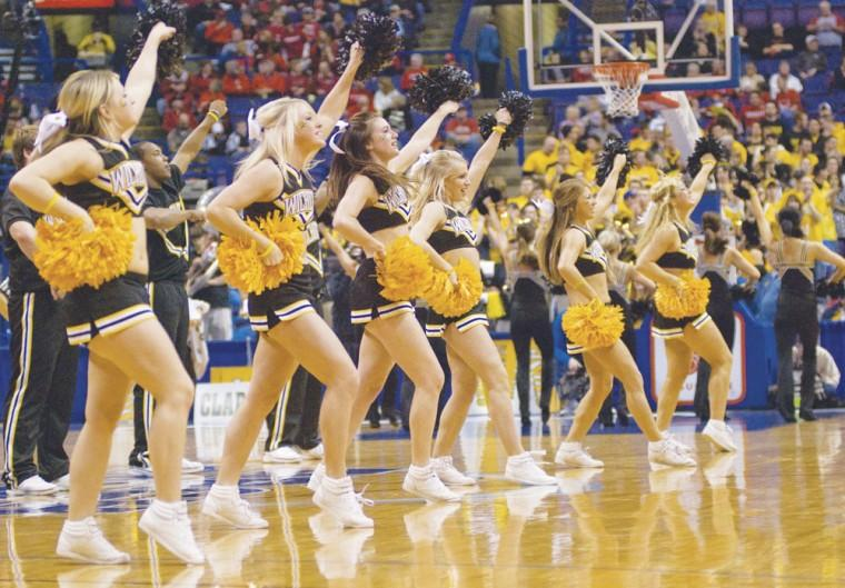 The Wichita State University Cheerleaders cheer during a time out at the Missouri Valley Conference Tournament this past weekend at the Scottrade Center in St. Louis.