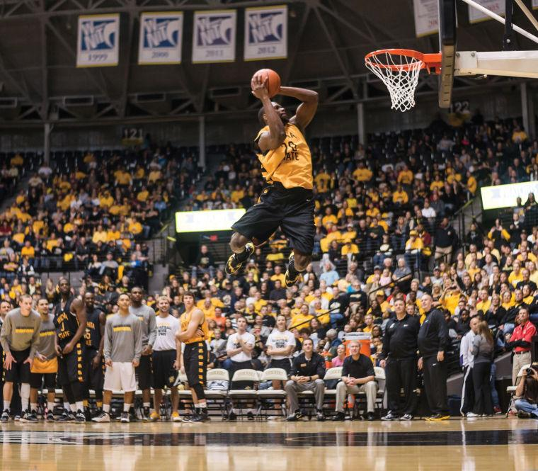 Kadeem+Coleby+excites+the+crowd+during+the+Slam+dunk+competition+during+the+Shocker+Madness+event+which+was+held+Friday+Night+at+Koch+Arena.