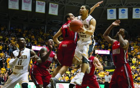 Fred VanVleet soars towards the rim in Monday nights game against Western Kentucky. VanVleet scored 17 points in the game to help the Shockers beat the Hilltoppers 66-49.