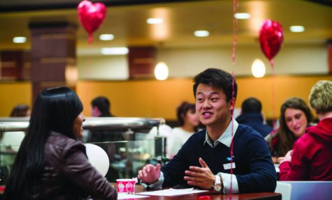 """Two potential matches get to know each other during the """"Soulmate in a minute"""" speed dating event inside the RSC Friday evening. The event was held by the International Student Union and the two winning matches received a free dinner."""