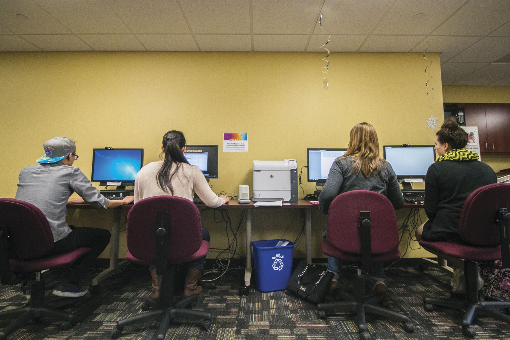 FILE PHOTO: Students work on projects at a computer lab at the Office of Diversity and Inclusion Wednesday.