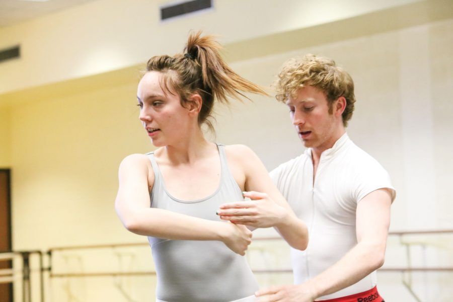 Wichita State dance students Brooke Johnston and Gavin Meyers rehearse choreographed routines for