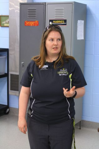 Lisa Garcia, a clinical educator in the physical therapy department, talks about how the cadaver lab is used by students on Tuesday.