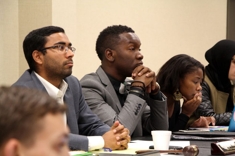 Student Body President Joseph Shepard listens to Senate debates Wednesday. Shepard authored a resolution to remove himself from office.