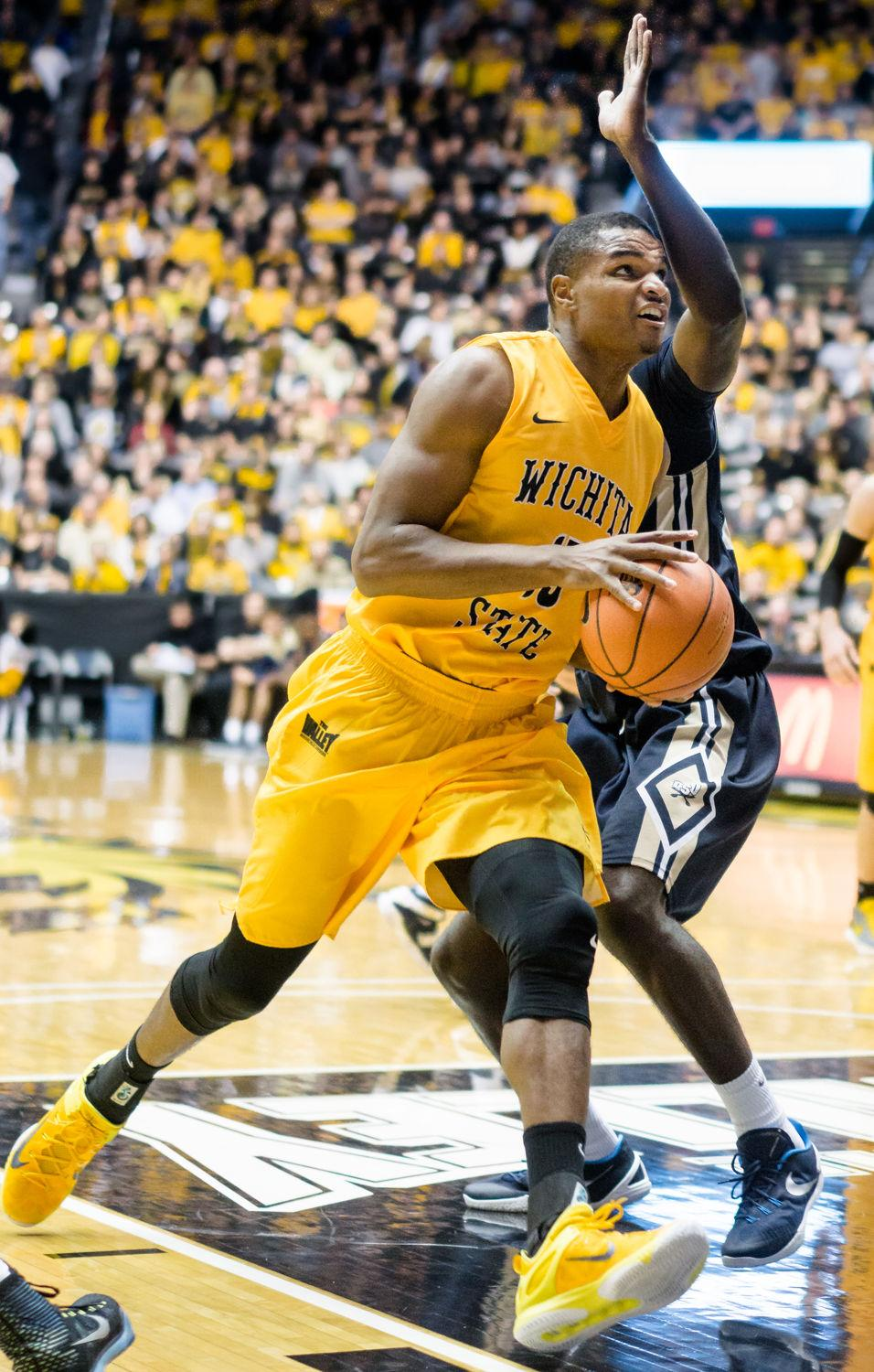 Freshman Anton Grady drives to the paint Nov. 13 against Charleston Southern at Charles Koch Arena as the Shockers defeated the Buccaneers 88-63.