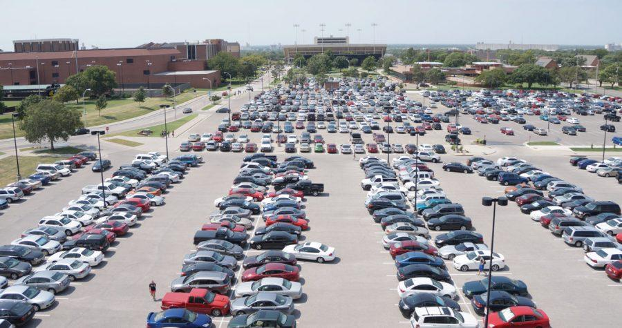 A+full+parking+lot+sits+adjacent+to+Eck+Stadium+on+Wichita+State%27s+campus.