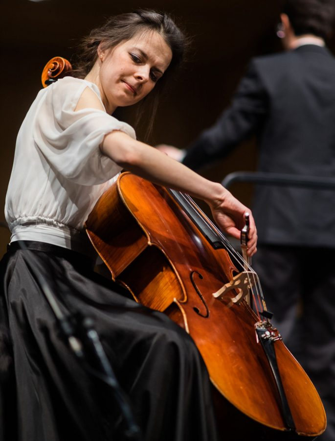 """WSU undergraduate Maria Begacheva performs a cello solo called """"Meditation from the Jules Massenet's opera """"Thais"""" Wednesday night at the Miller Concert Hall during the WSU Symphony Concerto Aria Honors Concert."""