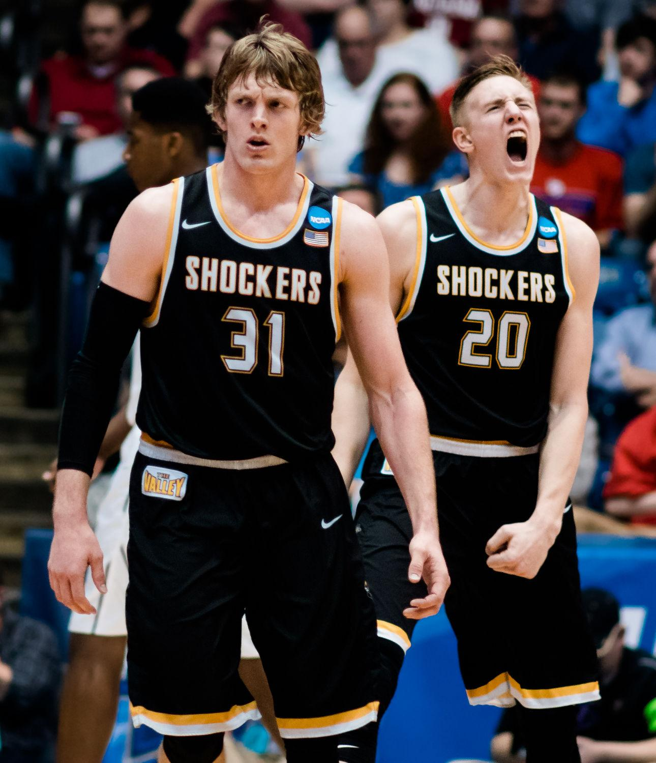 Sophomore forward Rauno Nurger celebrates a Vanderbilt turnover with teammate Ron Baker. Nurger scored six points in 17 minutes of action.
