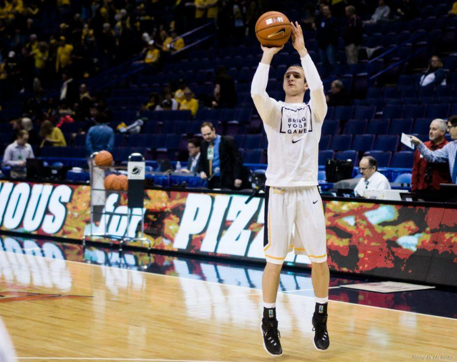 Sophomore guard Conner Frankamp loosens up in shoot-around before Friday's game against Loyola in the Scottrade Center.