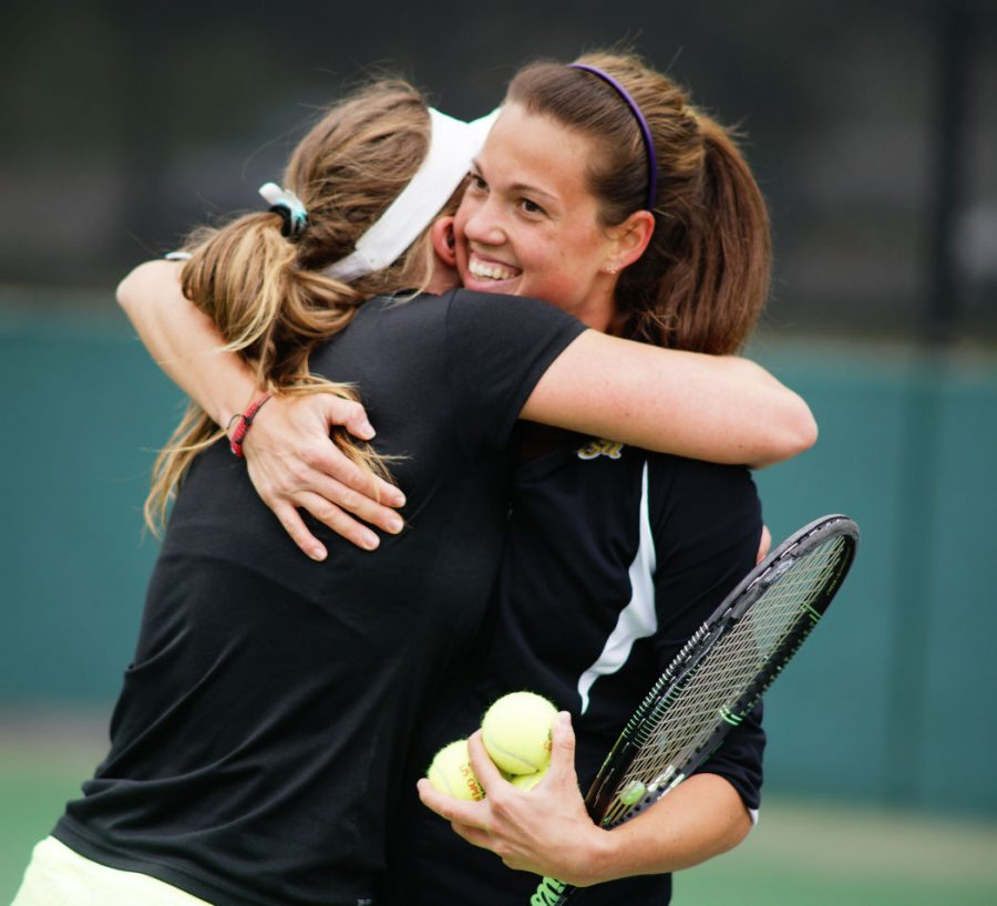 The+men%E2%80%99s%C2%A0+and+women%E2%80%99s+tennis+teams+each+claimed+first+place+in+the+Missouri+Valley+Conference+Tournament+held+in+Wichita+at+the+Sheldon+Coleman+Tennis+Complex+on+Sunday.+The+women+claimed+their+eighth+consecutive+title%2C+and+the+men+claimed+the+25th+title+in+program+history.%C2%A0
