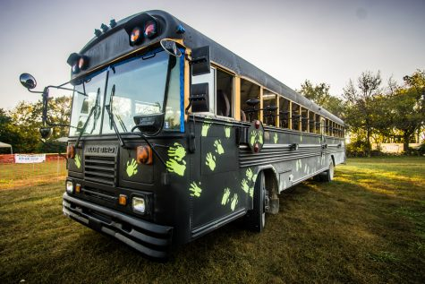 A school bus decked out with paintball guns is ready for action.