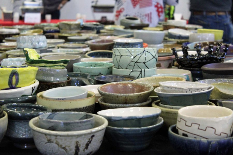Saturday+morning+in+Henrion+hall%2C+the+Empty+Bowls+Chili+Cook+Off+sold+ceramic+bowls+made+by+students+to+raise+money+for+the+Kansas+food+bank.